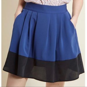 ModCloth Contrast Mini Skirt with Pockets Navy